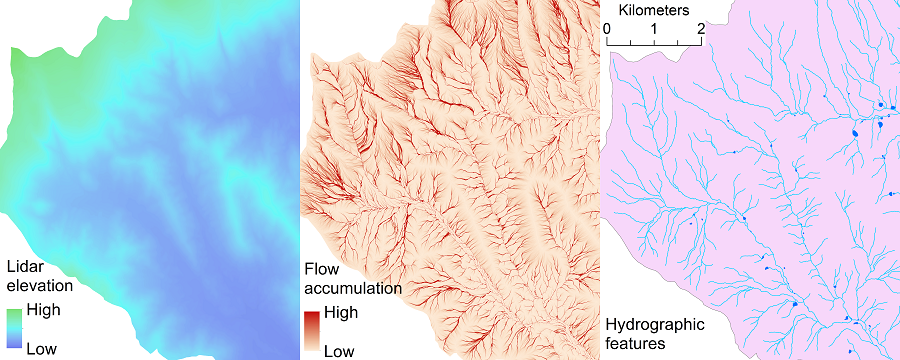 elevation model from lidar and flow accumulation raster