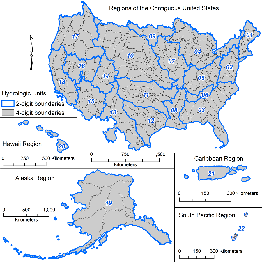 HUC watershed boundaries for the US