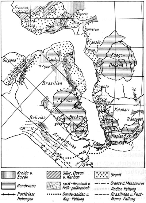 jigsaw fit of continental coastlines as noted by Wegener