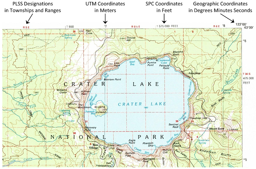 coordinates and graticule marks on topographic maps