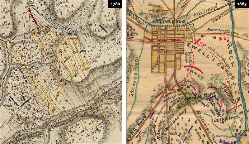 Military maps documenting battle maneuvers