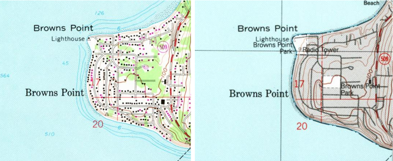 USGS map Brown's point in Tacoma Washington