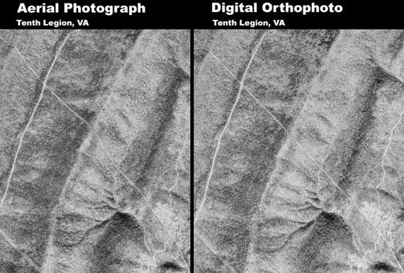 georeferenced aerial photo versus an orthophoto