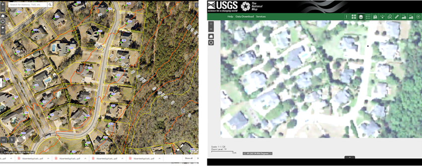 comparison of spatial resolution in aerial imagery