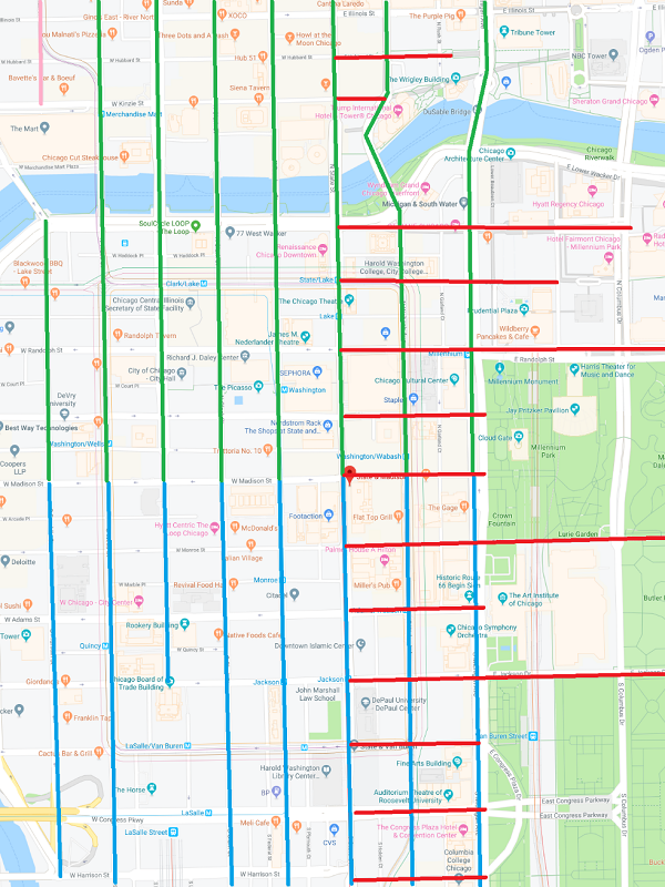 Routes and the street addressing system of Chicago