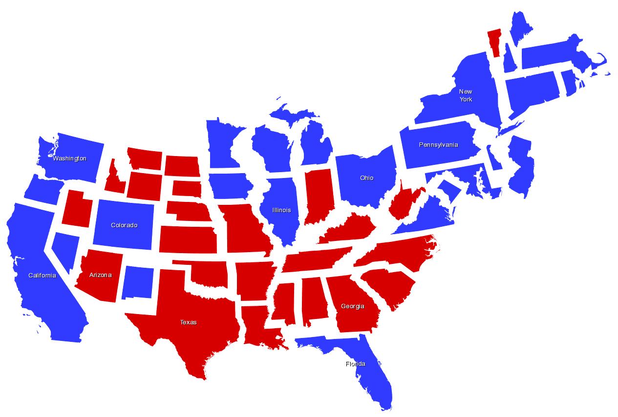 non-contiguous cartogram