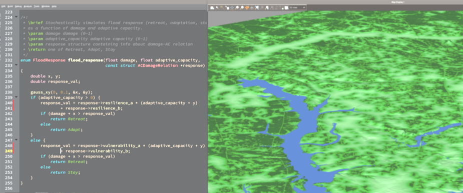 example of OS source code and flood modeling response